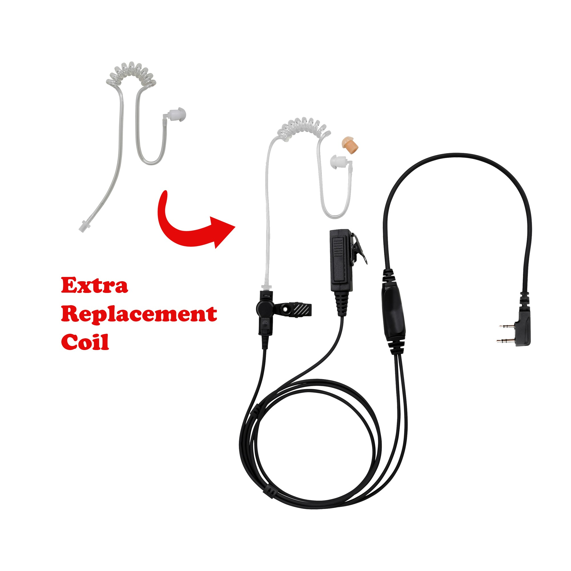 BOMMEOW BCT22RT-K2B 2-Wire Clear Coil Surveillance Kit Earphone for Baofeng with Extra Replacement Coil
