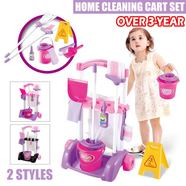 9pcs/set Toy Cleaning Set Cleaning Cart Pretend Play Mop Broom Toys Kids Cleaning Tools Kit House Clean Kids Children Toys or ​Shopping Cart Fruits & Vegetables & SnackBoxes