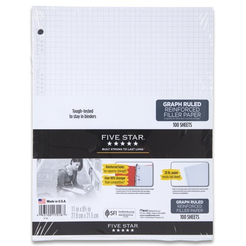 11 x 8.5 College Ruled 17010 Five Star Filler Paper Loose Leaf Paper Reinforced 100 Sheets//Pack Pack Of 3 Set of 3