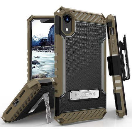 iPhone XR Case with Clip, Tri-Shield Rugged Cover and Belt Hip Holster [with Metal Kickstand + Wrist Strap Lanyard] for Apple iPhone XR (2018) (Size 6.1
