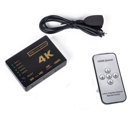 5 Port 4K Hub iR Remote HDTV 1080p 3D HDMI Switcher Switch Selector Splitter ()