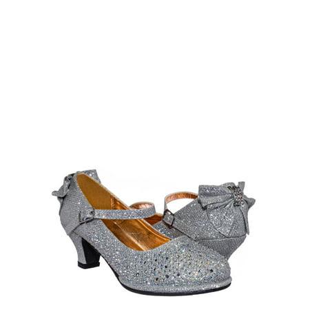 Tasha004T by Little Angel, Rhinestone Crystal Mary Jane Pump - Womens Block Heel Dress Shoes