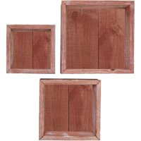 Set of 3, Square, Closed Back, Vintage Farmhouse Shadow Box Shelves, Barnwood Decor Collection, Salvage Red