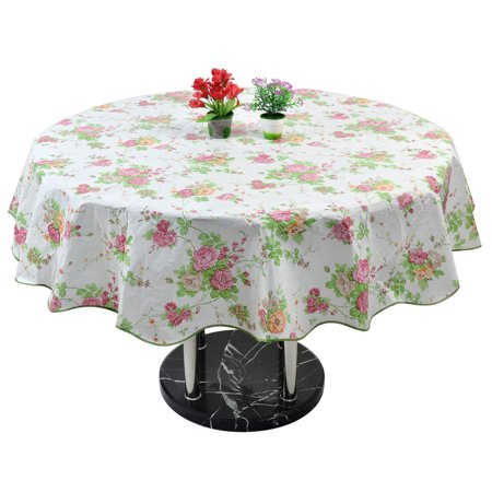Patterned Tablecloth (Home Picnic Round Rose Pattern Oil-proof Tablecloth Table Cloth Cover Pink)