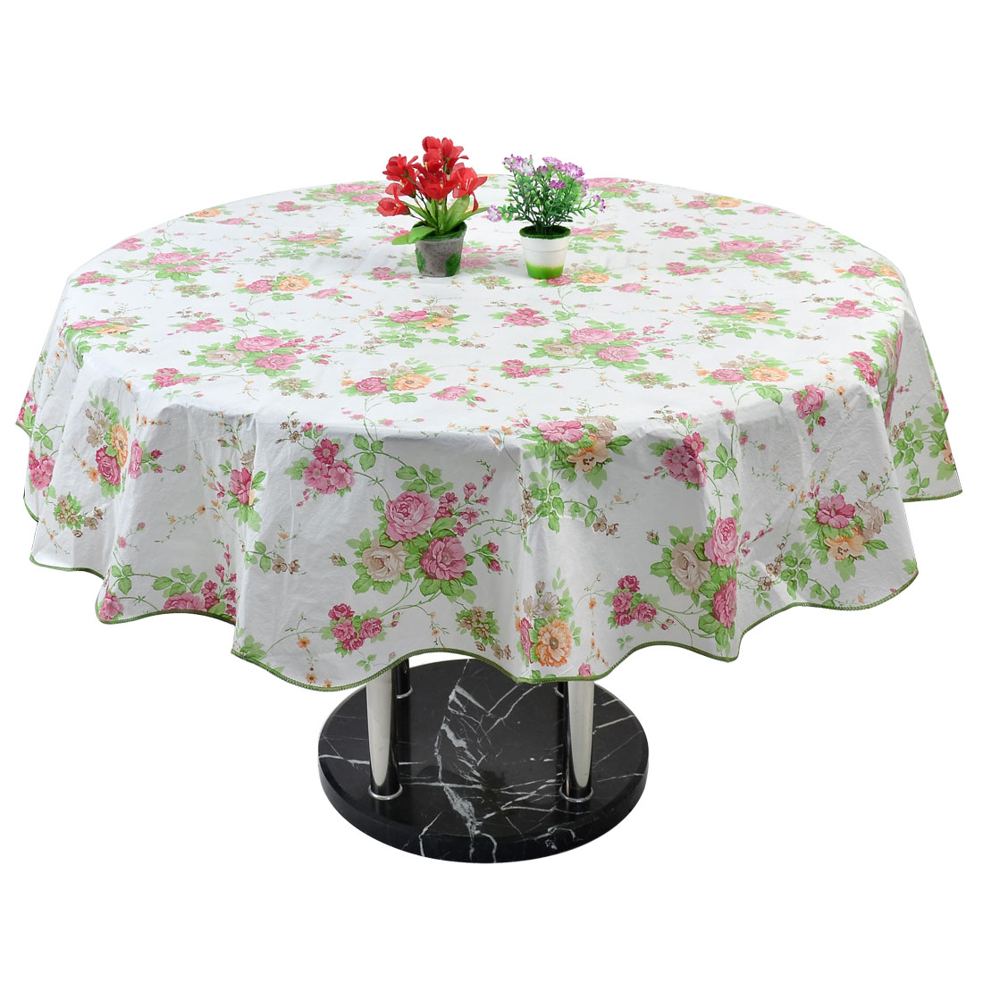 """Home Picnic Round Rose Pattern Oil-proof Tablecloth Table Cloth Cover Pink 60"""""""