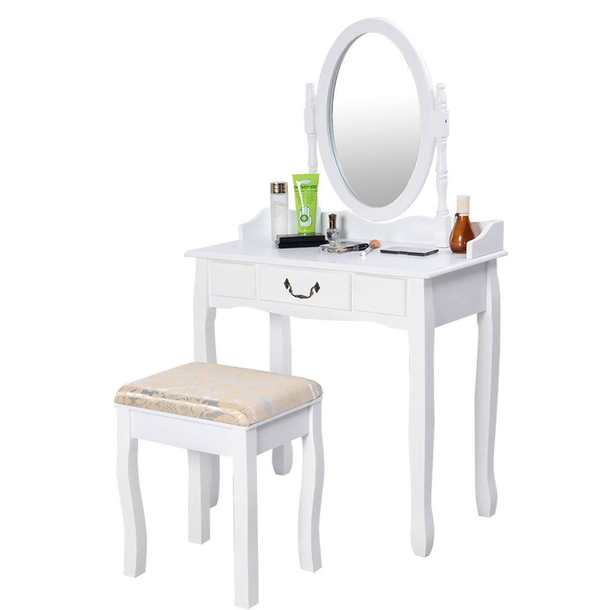 Costway Vanity Table Jewelry Makeup Desk Bench Dresser w  Stool Drawer White bathroom by Costway