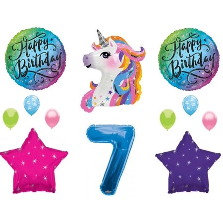 Blue 7th Neon RAINBOW UNICORN Happy Birthday Party Balloons Decoration Girl