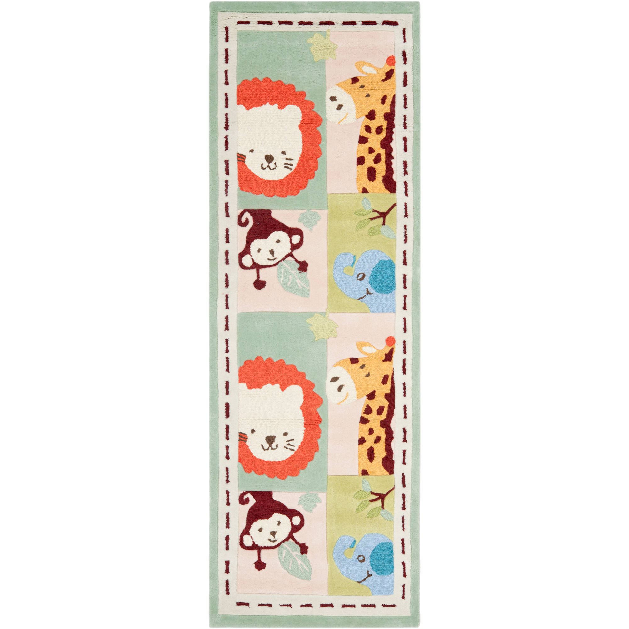 "Safavieh Kids 2'3"" X 7' Hand Tufted Rug in Ivory and Sage"