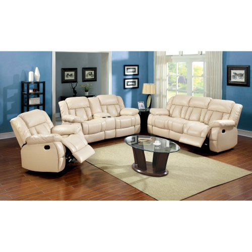 Furniture of America Rawene 3-Piece Bonded Leather Recliner Sofa Set - Ivory