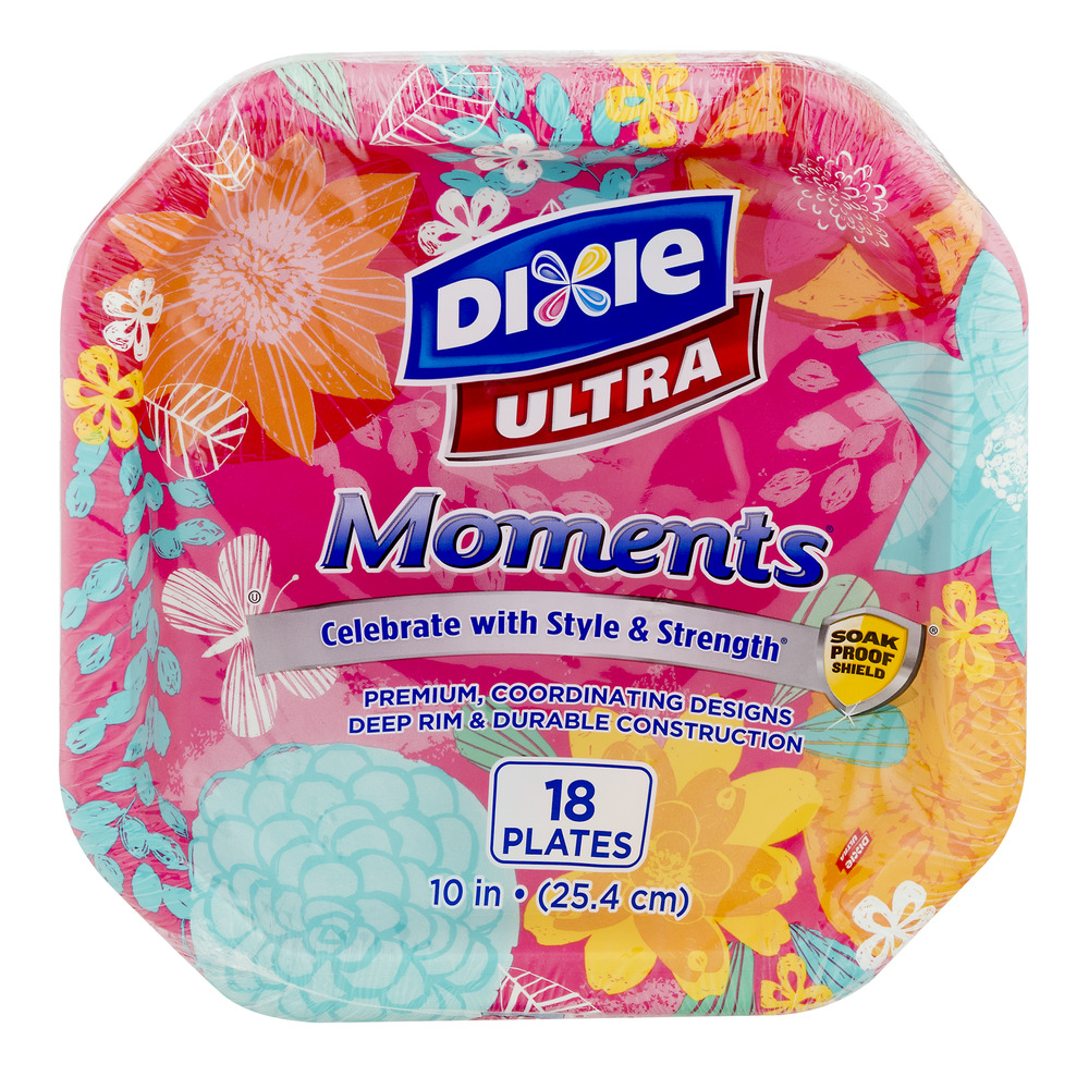 "Dixie Ultra Moments Paper Plates, 10"", 18 count"