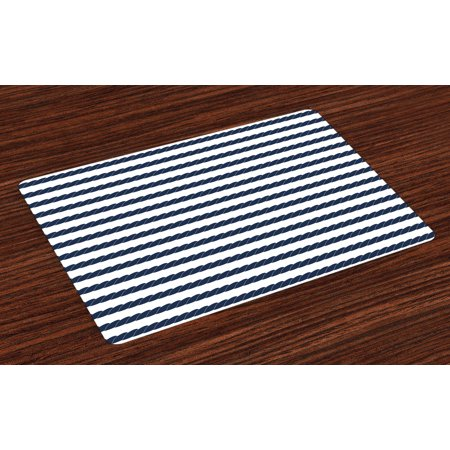 Navy Placemats Set of 4 Nautical Rope in Horizontal Style Marine Sea Life Ocean Pacific Art Print, Washable Fabric Place Mats for Dining Room Kitchen Table Decor,Violet Blue and White, by Ambesonne ()