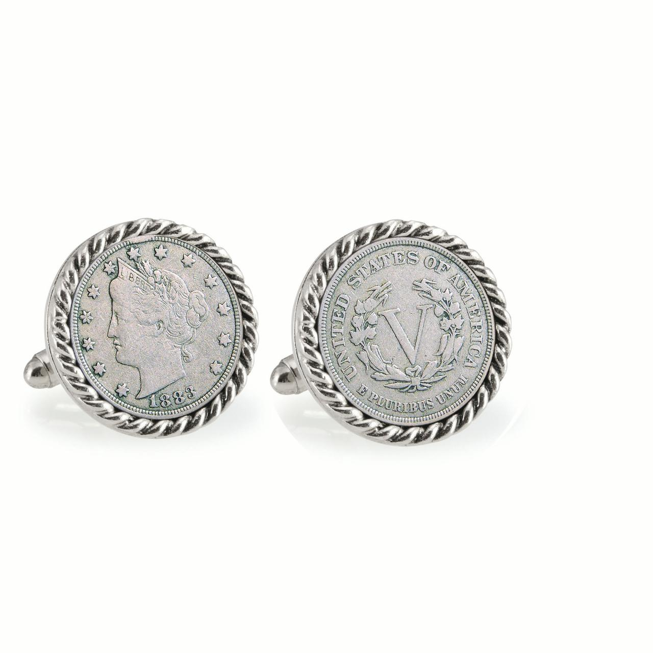 1883 First-Year-of-Issue Liberty Nickel Silvertone Rope Bezel Coin Cuff Links