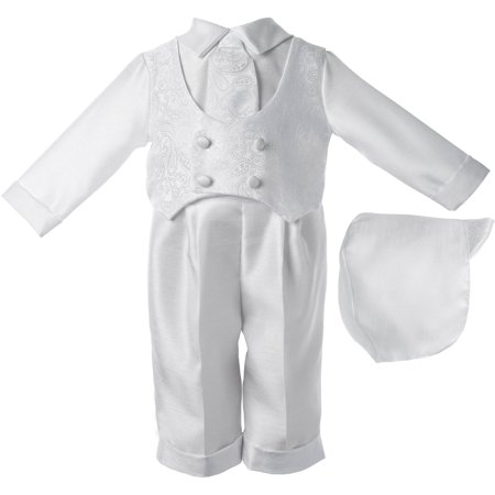 Christening Baptism Newborn Baby Boy Special Occasion 3 Pc Boys Shantung Long Pant Set w/ Paisley Embroidered Double Breasted Vest Comes w/ Matching Hat