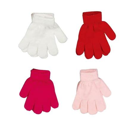 Kids Korner Girls Stretch Gloves 4-Pack Size: Toddler Ages 3-6 years (Toddler Satin Gloves)