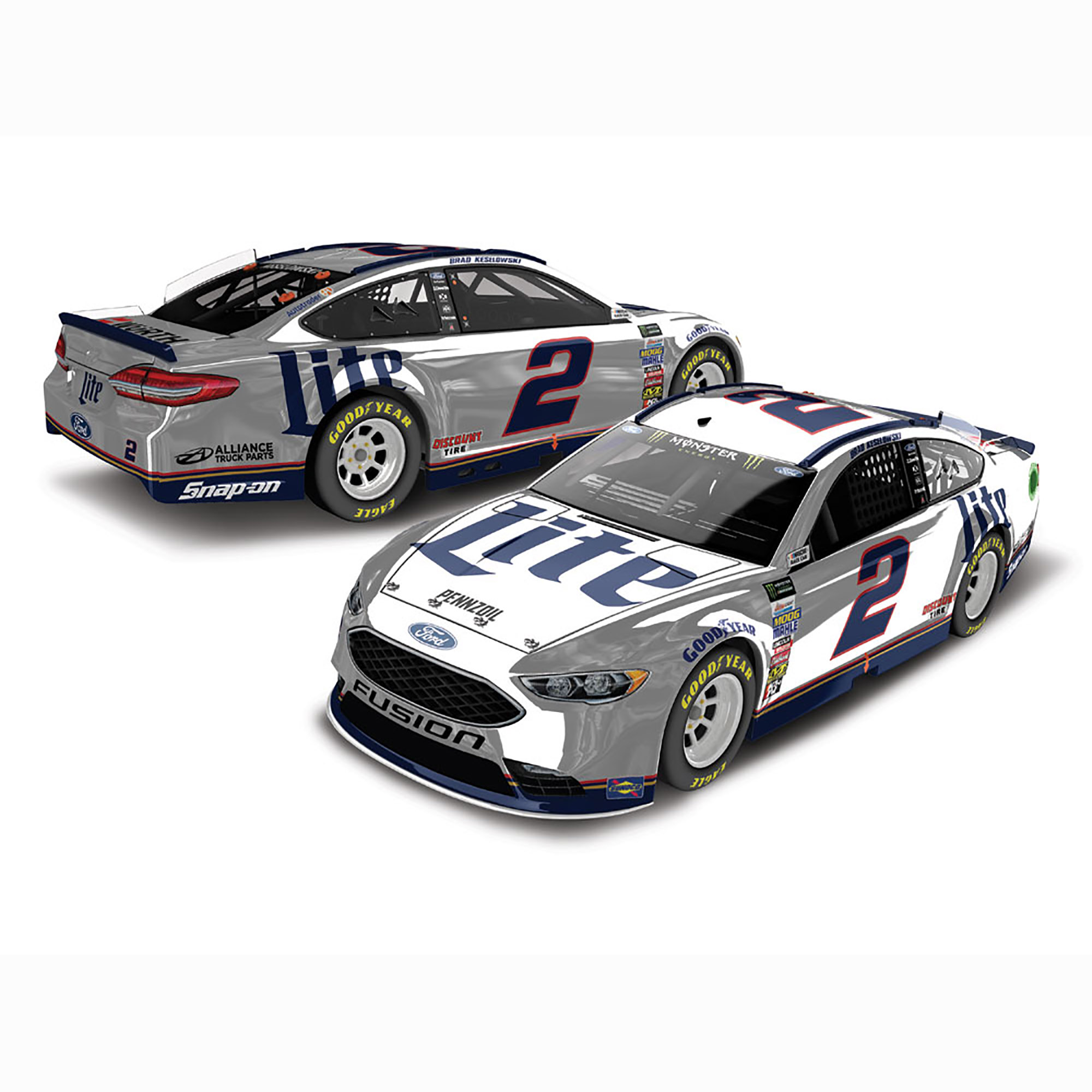 Lionel Racing Brad Keselowski #2 Miller Lite 2018 Ford Fusion 1:24 HO Color Chrome Die-cast