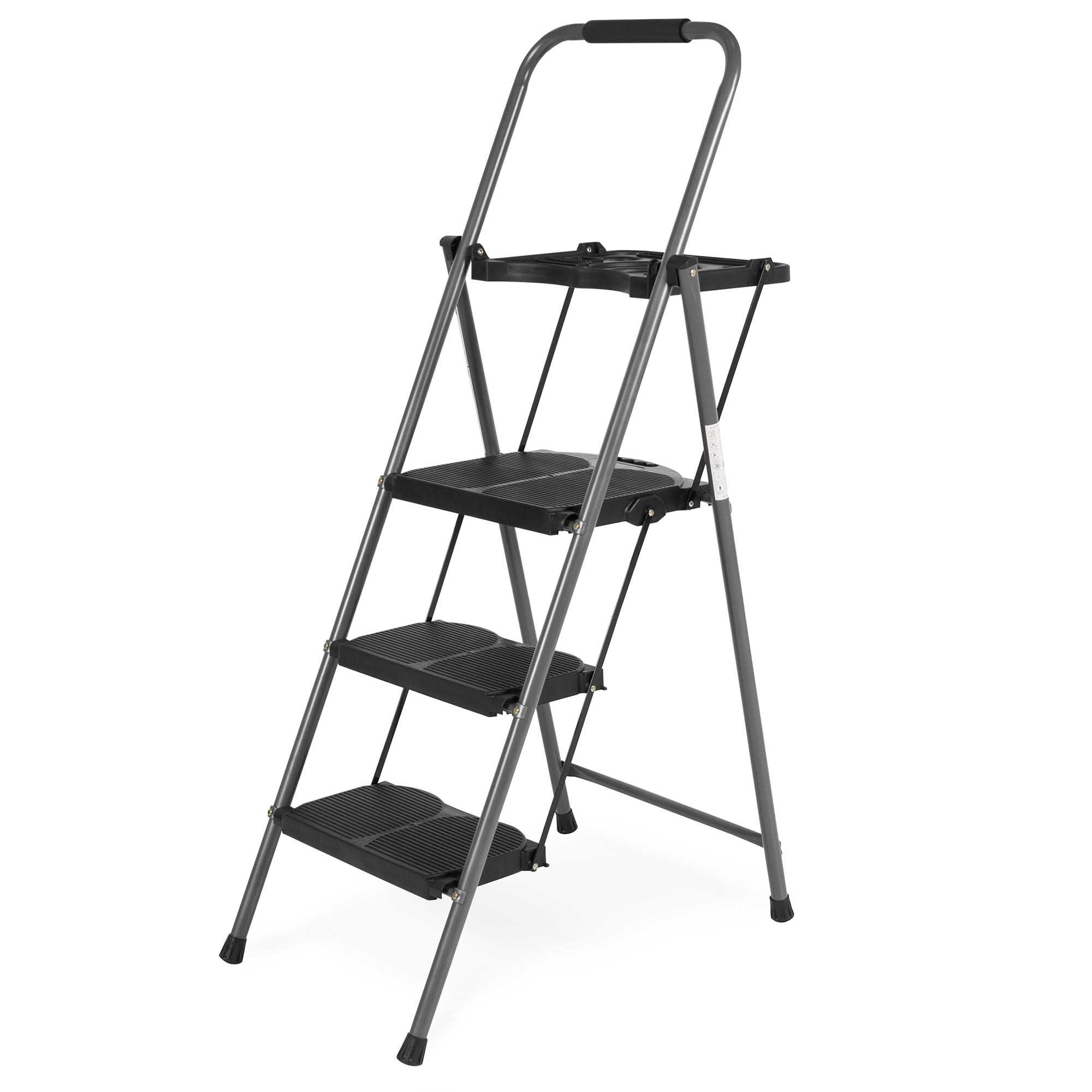 Fine Best Choice Folding Steel 3 Step Stool Ladder Tool Equipment For Indoor Outdoor W Hand Grip Wide Platform Steps 330Lbs Capacity Black Evergreenethics Interior Chair Design Evergreenethicsorg