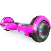 Hoverboard UL 2272 Certified Light-up Wheel 6.5 inch hover board Bluetooth Speaker with LED Light Self Balancing Electric Scooter- Chrome Pink