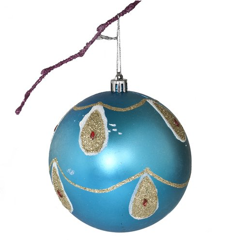 Perfect Holiday 3.9'' Shatterproof Handpainted Peacock with Acrylic Diamonds Matte Christmas Ball Ornament