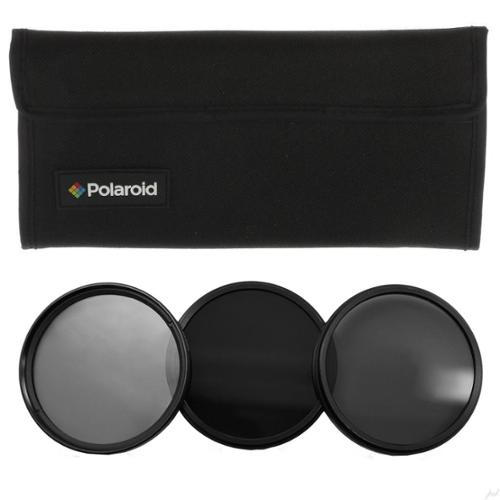 Polaroid Optics- 62mm Neutral Density Filter kit w/ [ND3, ND6 & ND9] Filters for Light, Exposure & Shutter Control Includes Nylon carry Case- Compatible w/ALL Popular Camera Lens Models