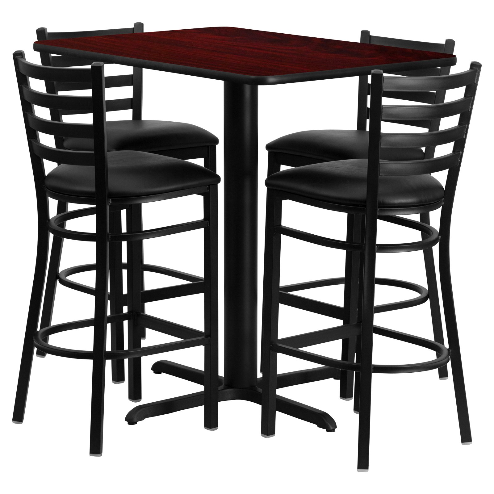 Flash Furniture 24''W x 42''L Rectangular Mahogany Laminate Table Set with 4 Ladder Back Metal Barstools, Black Vinyl Seat Black, Mahogany