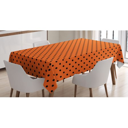 Orange Tablecloth, Vintage Retro Design Little Black Polka Dots with Orange Backdrop Classical Tile, Rectangular Table Cover for Dining Room Kitchen, 60 X 90 Inches, Orange Black, by - Orange Polka Dot Tablecloth
