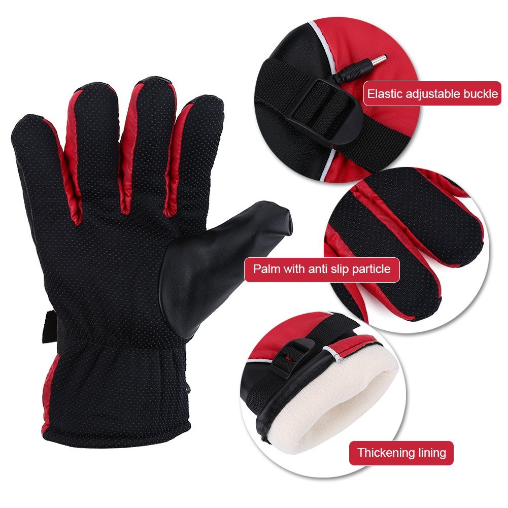 Heated Gloves, Motorcycle 12V Rechargeable Heated Gloves Waterproof Winter Warm Gloves for Outdoor Hunting Ski Racing
