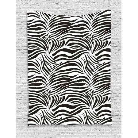 Zebra Print Decor Wall Hanging Tapestry, Striped Zebra Animal Print Nature Wildlife Inspired Fashion Simple Illustration, Bedroom Living Room Dorm Accessories, By Ambesonne