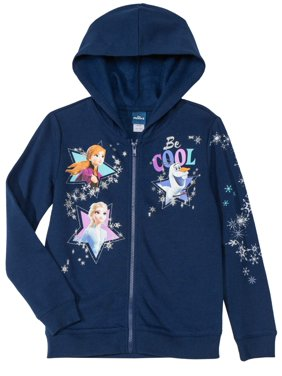Disney Frozen 2 All Girls Long Sleeve Zip Hoodie