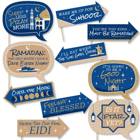 Funny Ramadan - Eid Mubarak Photo Booth Props Kit - 10 Piece - Props Synonym