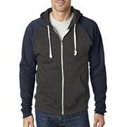 J America Adult Triblend Colorblock Full-Zip Fleece Hood