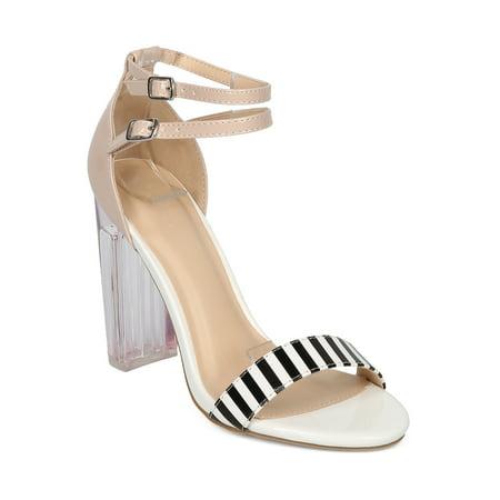 New Women Wild Diva Morris-110 Patent Open Toe Striped Lucite Block Heel Sandal (Stripe Open Toe)