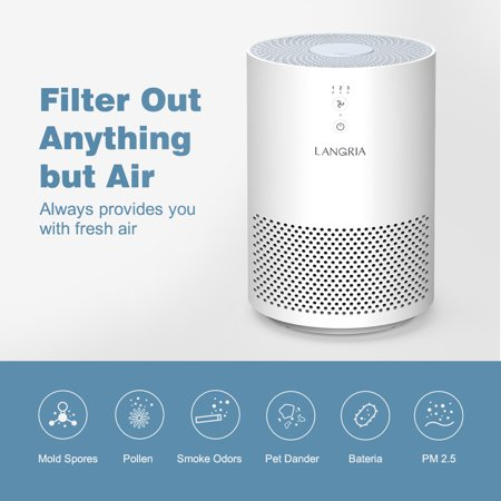LANGRIA Compact Air Cleaner with 3 Stage Filtration with True HEPA Filter, Portable Allergen Remover, Plug-in Dust Smoke Odor and Pet Dander Purifier, Powerful and Silent 110 V (Model:EPI080, (Savage Model 110 30 6 For Sale)
