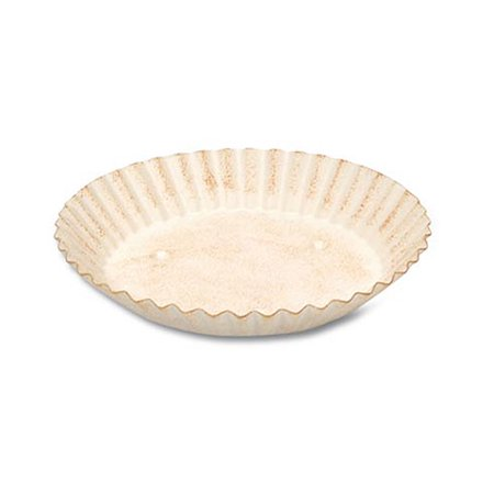 Candle Plate - Round - Cream With Rust - Scalloped Edge - 5 Inches Directional 5 Point Scallop