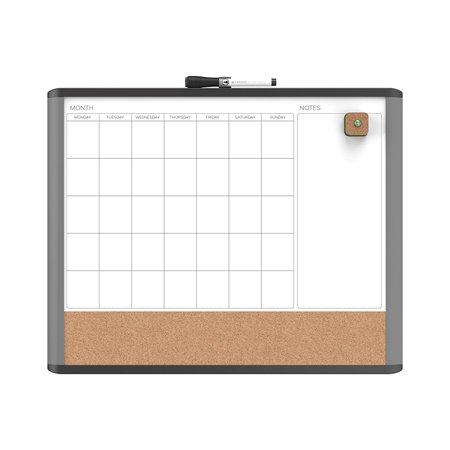 U Brands MOD Magnetic Dry Erase 3 in 1 Calendar Board