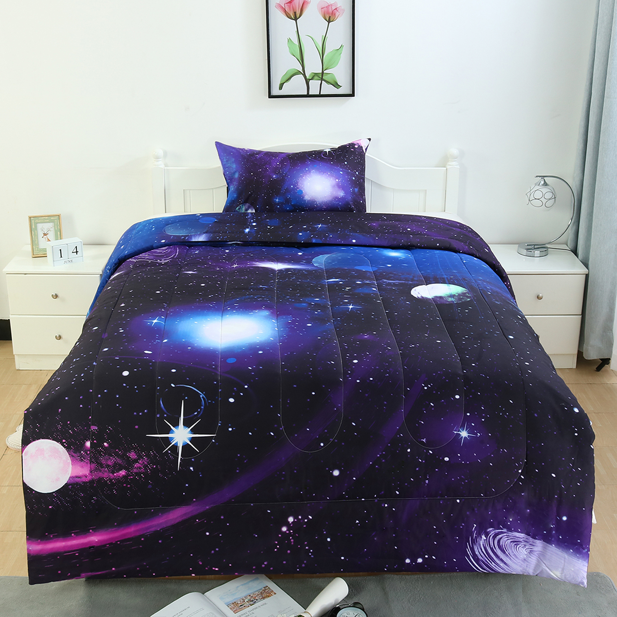 2 Piece Bed In A Bag Home Bedding All Season Down Alternative Comforter Set Galaxies Purple Twin Walmart Com Walmart Com