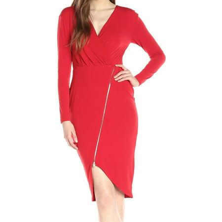 Zip Detail Sheath Dress - Rachel Rachel Roy NEW Red Womens Size XL Surplice Zip Sheath Dress