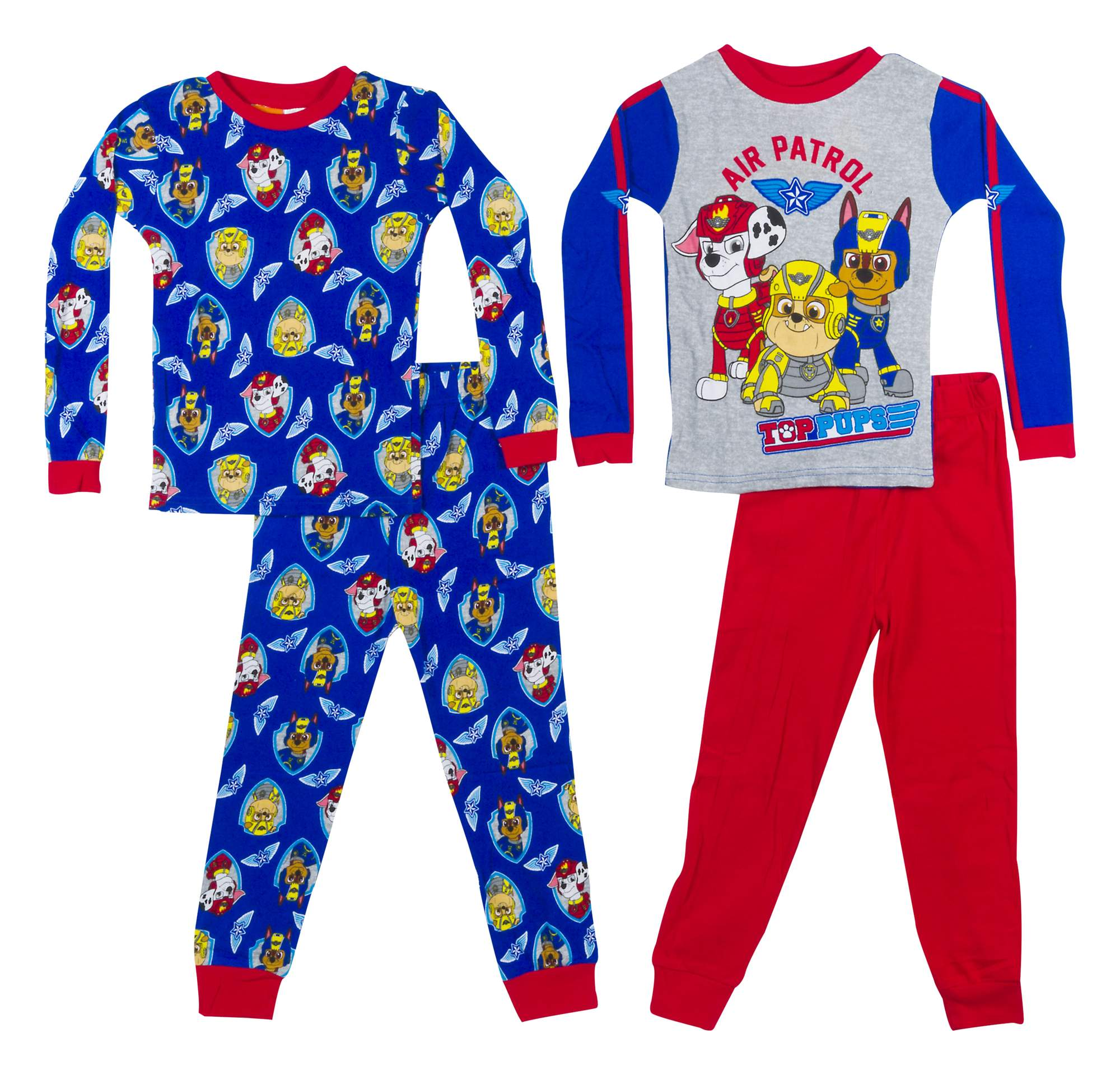 Paw Patrol Boys' Cotton Knit 4-Piece Pajama Set