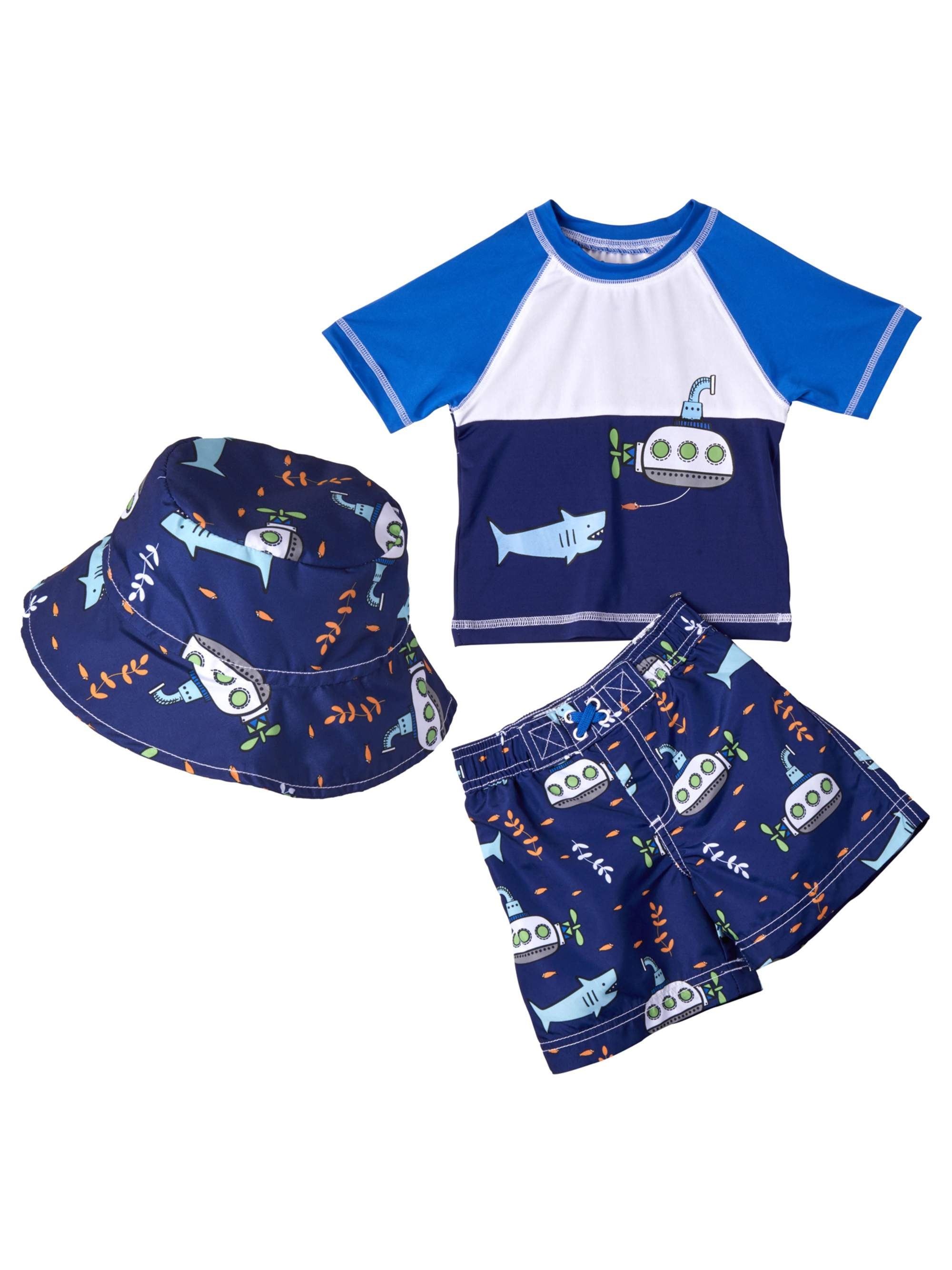 Rashguard, Board Short Swim Trunk & Bucket Hat 3pc Set (Baby Boys)
