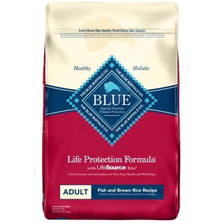 Fish Dog Canned Formula - Blue Buffalo Life Protection Formula Fish and Brown Rice Recipe Adult Dry Dog Food, 30-lb