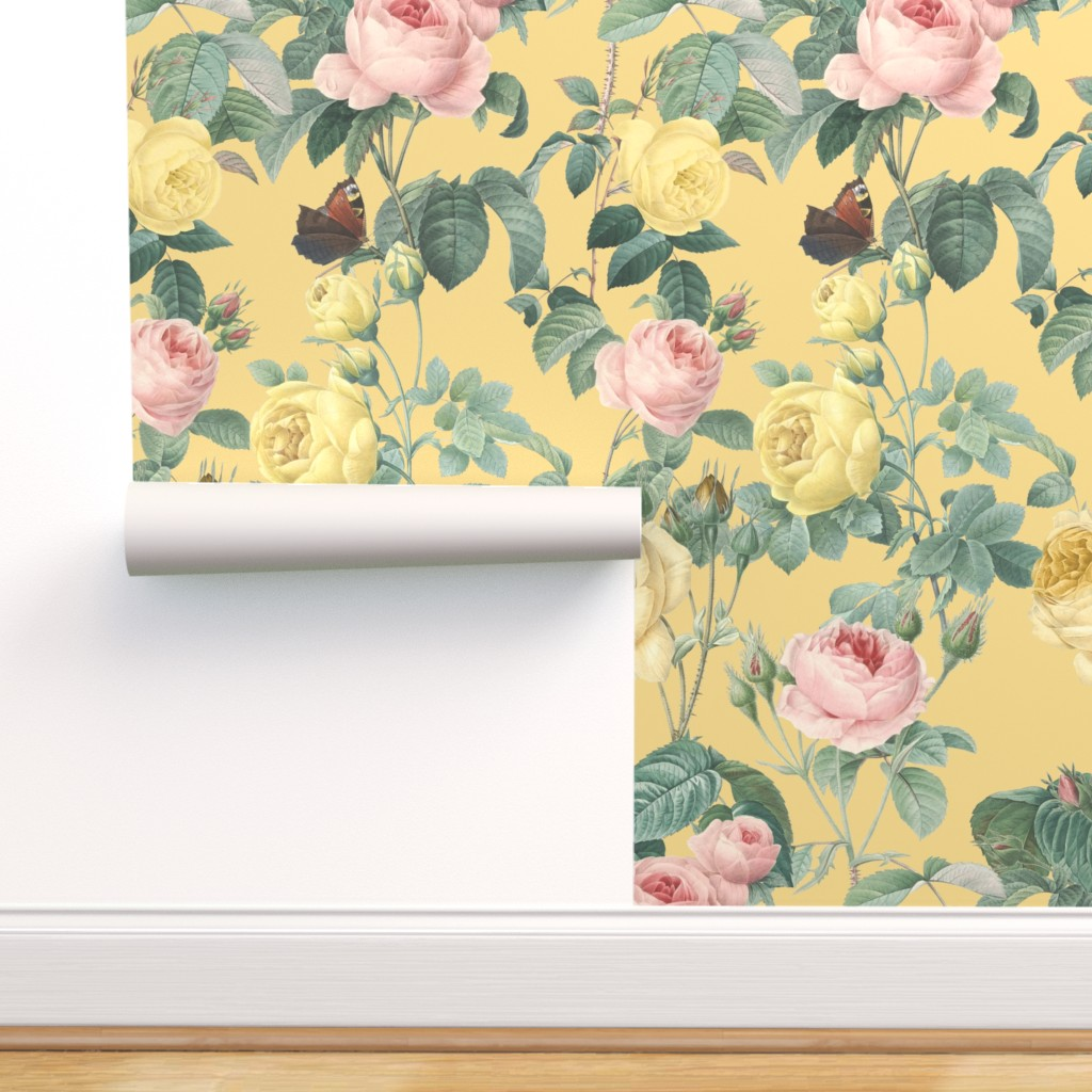 Removable Water Activated Wallpaper Floral Flower Garden Nature
