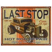 Vintage Metal Art 'Last Stop Hot Rods' Decorative Tin Sign