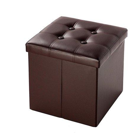 Marvelous Zimtown Portable Folding Stool Ottoman Storage Box Seat Pu Leather Foot Stool Brown Furniture Dailytribune Chair Design For Home Dailytribuneorg