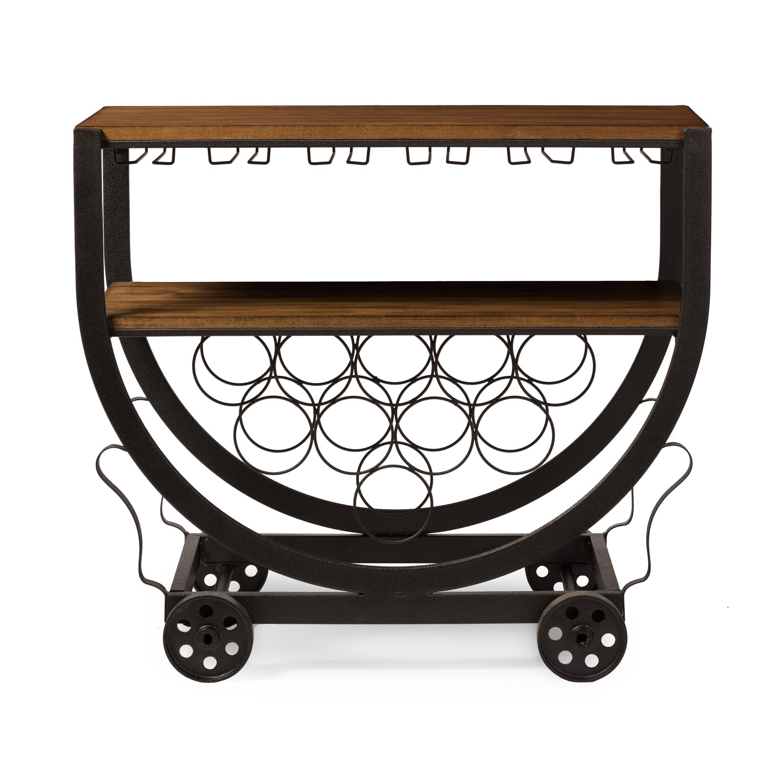 Baxton Studio Triesta Antiqued Vintage Industrial Metal and Wood Wheeled Wine Rack Cart