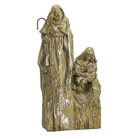 """Image of 10"""" Religious Inspirational Brown with Silver Glitter Holy Family Christmas Nativity Decoration"""