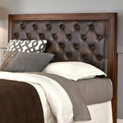 Duet King Tufted Diamond Panel Bed, Brown Leather