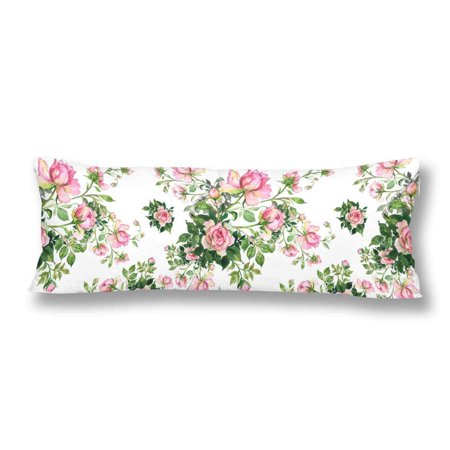 GCKG Watercolor Seamless Pattern Roses Bouquet Body Pillow Covers Case Protector 20x60 inches - image 2 de 2