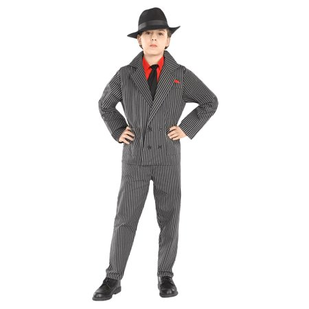 Boys Gangster Costume Mob Boss Godfather Mobster Kids Sized Halloween Child