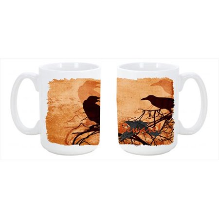 Beware of the Black Crows Halloween Dishwasher Safe Microwavable Ceramic Coffee Mug 15 oz.