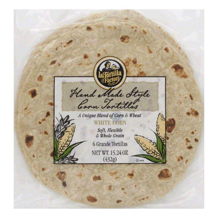 La Tortilla Factory Hand Made Style Tortillas, White Corn, Grande, 6 Ea (Pack of 12)