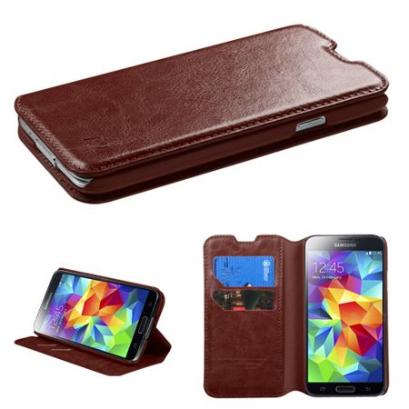 Samsung Galaxy S5 Case - Wydan Wallet Case Folio Flip Leather Kickstand Feature Credit Card Slot Style Cover Brown (Galaxy S5 Leather Case Brown)